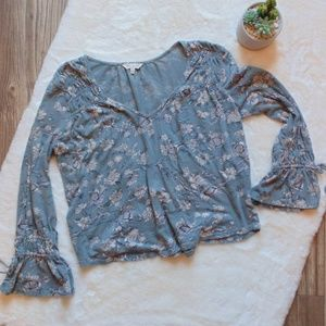 Teal and White Floral Lucky Brand Top
